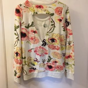 Chaser Tops - 🌸NEW Chaser floral cut out back sweatshirt small